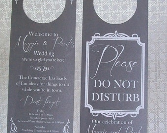 Hotel Door Hangers - CHALKBOARD - Double Sided for Out of Town Wedding Guests - Do Not Disturb