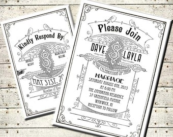 Printable DIY Art Deco Vintage Modern Wedding Invitation Suite - Hollywood - Black White - Digital Download -  Personalized Invitation