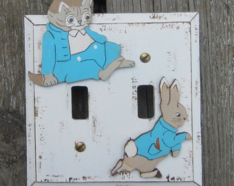 BUNNY RABBIT Switch Plate Cover - Hand Painted Wood