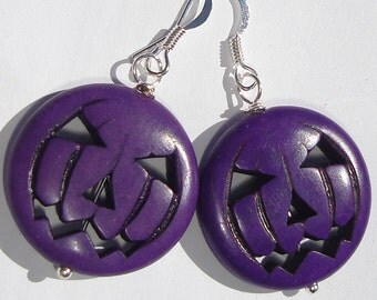 purple pumpkin jack-o-lanterns in magnesite stone pierced dangle hand made wire wrapped earrings