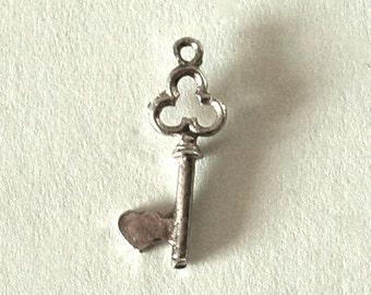 Vintage Sterling Heart Key Charm. English