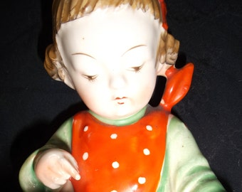 Porcelain Girl Reading Little Red Riding Hood Figurine