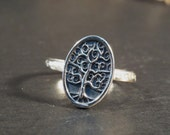 Family tree ring, Tree of life ring, Nature ring, Sterling silver ring, Silver tree ring jewelry