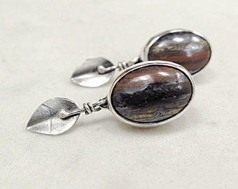 Tiger Iron earrings, Sterling Silver, brown gemstones, Leaves, Nature inspired