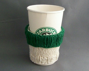 Coffee Cup Cozy Cotton Knit Starbucks coordinate Forest Green Off White BONUS Handmade Muslin Carry Bag Vegan and Eco Friendly Gift under 20