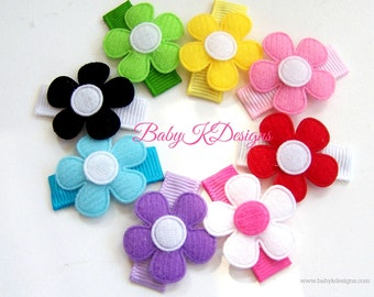 Eight Baby Bow Snap Clips / Itty Bitty Infant Clips / Toddler Alligator Girls Bows / No Slip Hair Clip / Bright Flower Alligator Clips