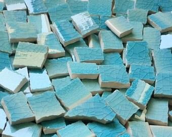 Mosaic Tiles--Caribbean Blue Glaze--50 Tiles.