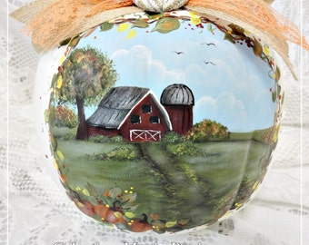 Memories White Pumpkin, Hand Painted Country Barn Scene with Memories Charm, Embellishments, ECS