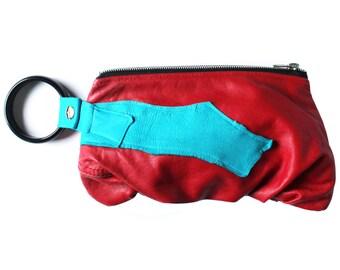 Red & Aqua Re-purposed Leather Bracelet Purse