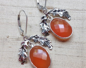 SALE Carnelian and Sterling- The Oak Leaf Earrings