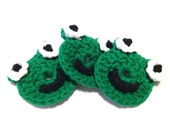 Emerald Green Itty Bitty Frog Crocheted Make-Up Removers-Trio