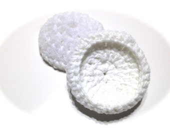Set Of Two White Crocheted Cotton And Nylon Netting Dish Scrubbies