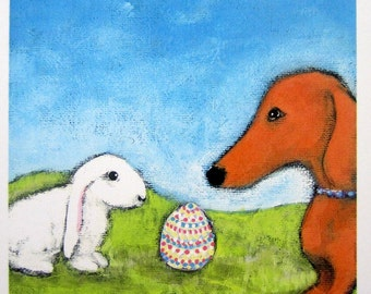 Limited.Edition EASTER EGG with Dachshund Wiener Dog and Bunny Original Signed print from Painting by Ellen Haasen