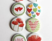 Watercolor Hearts and Flowers Flair