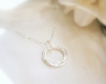 Silver Entwined Three Rings Necklace, Anniversary Gift, Sisters Necklace, Best Friends Necklace, Eternity Necklace - MADE TO ORDER