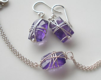 Wrapped violets--amethyst, sterling silver, set (earrings, bracelet)