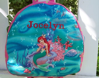 My Carrie Teen/Toddler Zipper Top Backpack/Purse made with Little Mermaid Fabric