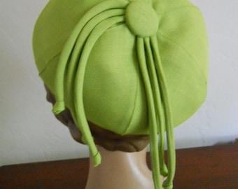 Frank Olive Hipster Mod Girl Beanie Cap Hat Vintage 1970s 1980s Lime Green Emme