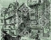 Digital Download London Landscape, Butcher's Row, Antique Illustration, drawing, UK, British Scene, digi stamp, Butcher Row digital stamp