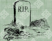 Digital Download RIP Headstone Halloween Vintage graphic, digi stamp, Gothic, Scary Creepy Gravestone Digital Transfer