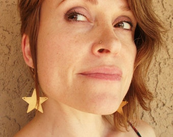 Gold-Brass-Star-Dangle-Earrings / Free US Shipping