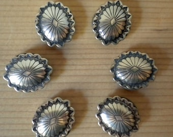 SALE   Vintage silver Native American flower design button covers