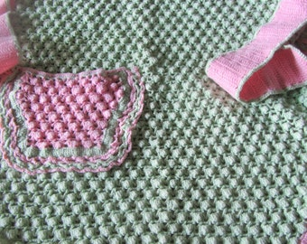 Vintage Handmade Crocheted Pink and Green Apron 1950's So Charming Shabby Chic!