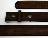 salty brown double snap leather belt