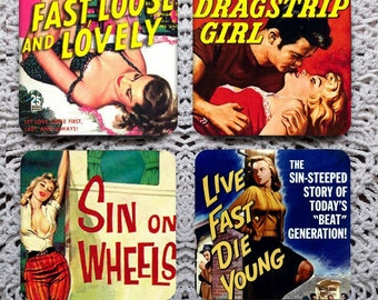Sin on Wheels -- Kitschy 50s Hot Rod Book Cover Mousepad Coaster Set