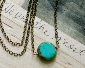 Bohemian beaded turquoise coin necklace/dot necklace/simple necklace/layering necklace. Tiedupmemories