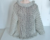 Super chunky sweater cowl neck pullover women medium large in shades of  dove grey ultra warm yarns