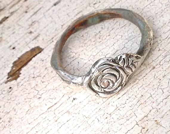 Wedding Rings Artisan Romantic Rose White Sapphire Engagement Rustic