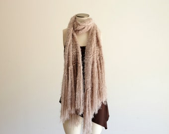 Large Knit Scarf, Huge Scarf Beige Colored Warm Scarf Light Brown Tan Taupe