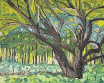 """Art Plein Air Oil Painting Landscape Original Impressionist Apple Tree Orchard Nature Quebec Canada By Fournier """" Gentle Strenght """" 16 x 20"""