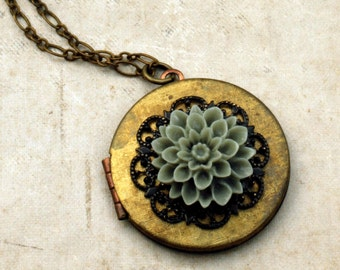Locket Necklace, Vintage Locket Necklace, Dusty Green Flower, Black Lace Filigree, Picture Locket, Flower Locket