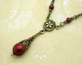 Victorian Necklace, Pearl Teardrop Jewelry, Wine Red Swarovski Pearl Pendant, Downton Abbey Style, Antiqued Brass Bronze