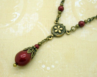 Victorian Necklace with Swarovski Pearl Teardrops in Bordeaux Wine Red
