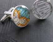 No. 01 Boston Ball Park Vintage Street Map Sterling Silver Round Cufflinks.