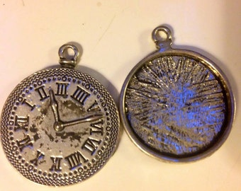 Steampunk supplies pocket watch charm pendant jewelry findings antiqued silver D2 quantity one
