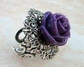 Purple Rose Ring Adjustable Ring Purple Ring Silver Filigree Ring Gothic Jewelry Statement Ring Novelty Cocktail Ring gift for women sister