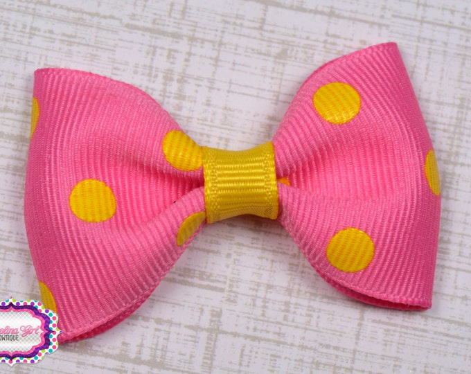 """Pink with Yellow Dots Tuxedo Bow ~ 2.5"""" Hairbow ~ Small Hair Bow ~ Girls Barrette ~ Toddler Bow ~ Baby Hair Bow ~ Hair Clip ~ Girls Hair Bow"""