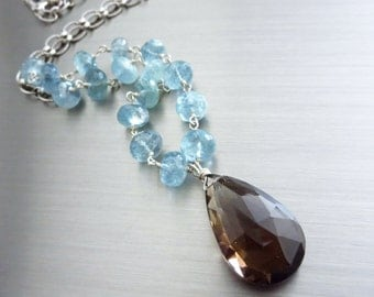 2in1-Moss Aquamarine-34.2ct Smokey Quartz Removable Pendant-Sterling Silver Necklace