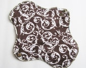 Reusable Panty liner Mama Cloth Pad .. Chocolate Swirls Flannel .. 10 inch FREE Shipping