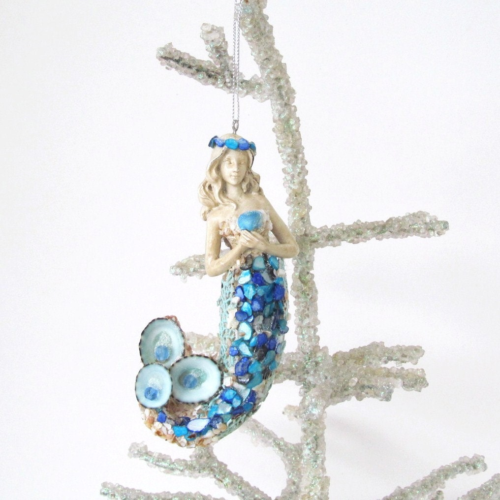 Mermaid ornament seashells christmas tree coastal decor cobalt for Christmas tree ornaments made from seashells