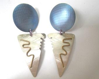 Sterling Silver Earrings Vintage 80s Avant Garde Geometric Anodized Aluminum David Badman Memphis Group