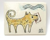 dog with a job hand carved ceramic art tile