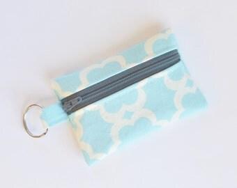 Business Card Holder, Small Zipper Pouch, Flash Drive Holder Tarika Blue