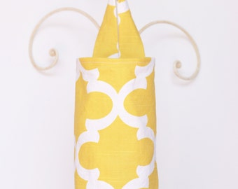 Fabric Plastic Grocery Bag Holder Flynn in Corn Yellow