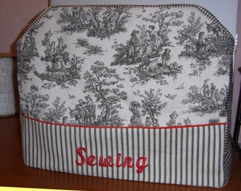 SEWING MACHINE COVER - Black Toile, Gingham and Ticking - Embroidered