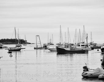 Maine Fishing Boats Photography New England Wall Art/ Nautical Home Decor/ Black and White/ 8x12 Fine Art Photograph / Gift For Him /Fishing